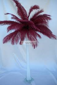 burgundy plum ostrich feather centerpieces 6 sets wholesale bulk