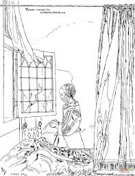 the with the pearl earring by johannes vermeer coloring page