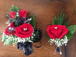 Red Rose Corsage Red Roses Corsage N Boutonnière W Black Ribbon Boutonnieres N