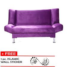 Foldable Sofa 3 Seater Foldable Purple Sofa Bed With Free Islamic Sticker