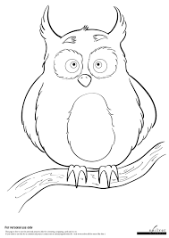 owl on a branch coloring page soelver dk