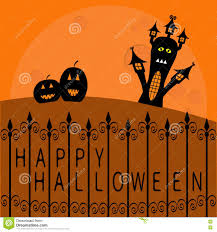 halloween design background haunted house pumpkins and big moon wrought iron fence happy