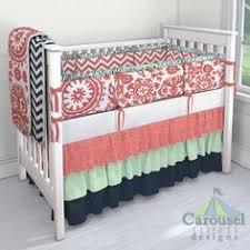 Navy And Coral Crib Bedding Navy Crib Bedding Baby Bedding Navy Coral Nursery