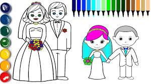 bride groom coloring draw groom bride