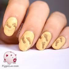 piggieluv 3d footprints on the beach nail art hpb linkup