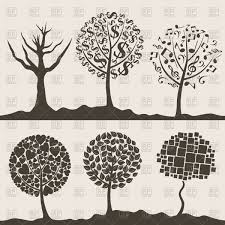 silhouettes of decorative trees vector clipart image 82977