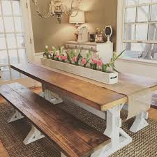 custom built 7 ft diy farmhouse dining table and bench along with