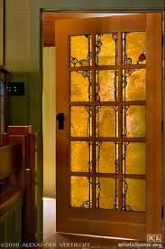 stained glass interior door beautiful frank lloyd wright style stained glass door http www