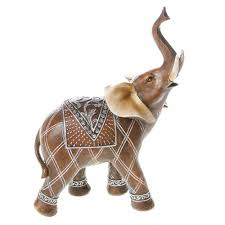 large ornate wood effect elephant ornament