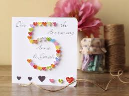 anniversary gifts for husband 5th wedding anniversary card personalised 5th anniversary