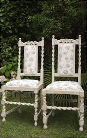 shabby chic chair upholstered in a pretty pale grey rose fabric