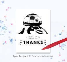 wars thank you cards bb8 thank you wars thank you card card thanks party