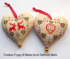 réthoret mé hearts ornaments cross stitch
