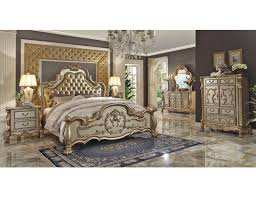 Traditional Style Bedrooms - gold patina master bed collection
