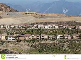 porter ranch california hillside homes construction stock photo