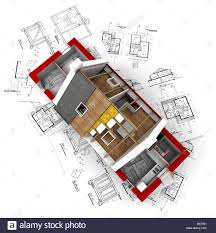 architect plan 3d rendering of a roofless house on top of architect plans stock