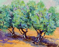 palette knife painters olive tree trio by marion hedger