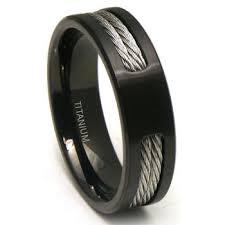 mens wedding rings titanium black titanium cable wedding band ring
