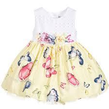 monnalisa bebé baby girls yellow butterfly dress childrensalon