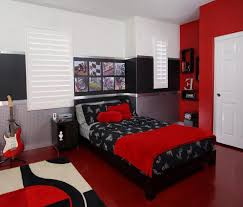 black red bedroom decor wooden paneled wall platform bed with