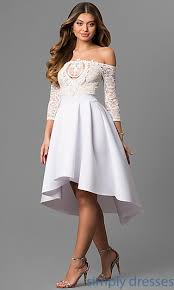 white dresses cheap hi lo the shoulder graduation party dress