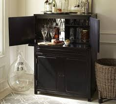 Black Bar Cabinet Mirrored Interior Storage Bar