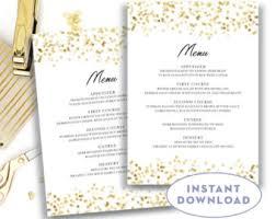 wedding menu template gold menu instant download traditional