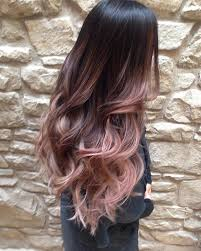 rose gold lowlights on dark hair soft blush balayage girls around the world myself included are