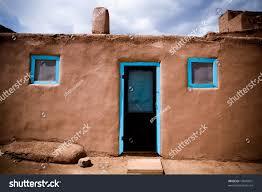 door windows adobe building taos pueblo stock photo 13045501