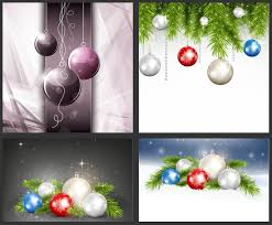 christmas greeting cards with shiny balls vector designs vector