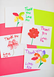 kid cards kid made stamped flower thank you cards