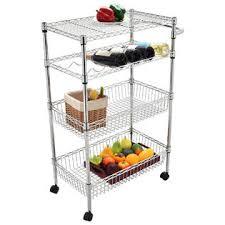 goplus 4 tier rolling steel kitchen trolley cart island wire rack