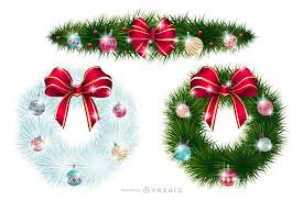 or wreaths with ornaments vector
