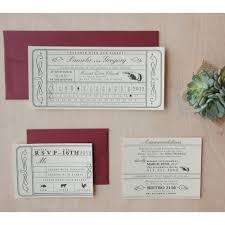 vintage ticket wedding invitation punch card train ticket