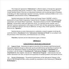 sample subcontractor agreement 10 free documents downlaod in