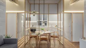 amenagement cuisine ferm馥 revolving door glass walls and diverse textures reved condo