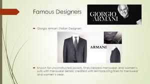 famous designers giorgio armani italian designer known for