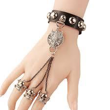 black leather skull bracelet images Unisex women punk silver wolf skull rivet round studs black pu jpg