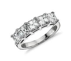 daimond ring classic asscher cut five diamond ring in platinum 2 1 2 ct