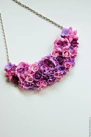 necklace flower handmade images Necklace quot flower cocktail quot pink purple lilac shop online on jpg