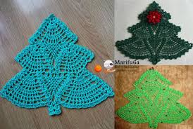 how to crochet christmas tree doily pad pattern by marifu6a