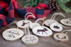 faux wood burned christmas tree ornaments
