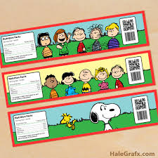 printable peanuts water bottle labels