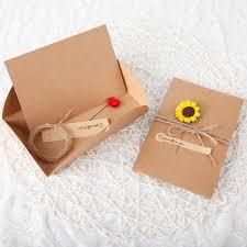 2017 new cute delicate brief flowers greeting cards kraft paper