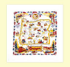 Roseburg Oregon Map Oregon Map Towel Red And White Kitchen Company