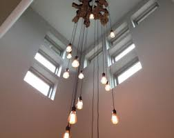Hanging Bulb Chandelier Create Your Own Extra Large Live Edge Slab Light Fixture With