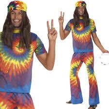 mens tie dye hippy fancy dress costume 1960s 60s hippie man