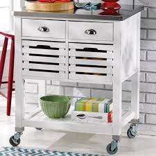 stainless steel top kitchen cart red barrel studio fulton kitchen cart with stainless steel top