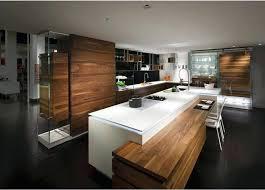 cuisine contemporaine blanche et bois design d intérieur table de cuisine contemporaine ilot centrale