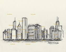 chicago skyline pen u0026 ink drawing 777 u2013 condren galleries ltd